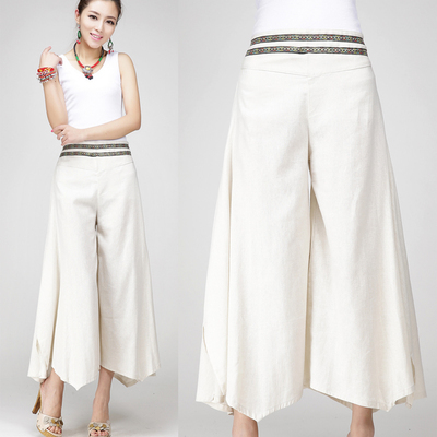 c98d907fad 2016 New Wide Leg Pants Capris Linen High Waist Vintage Embroidery Women  Casual Trousers Pantalon Femme Black,Beige,Green,Brown