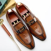 Men Brand Italian Shoes Fashion Mens Dress Genuine Leather Metal Designer Brown Burgundy Wedding Male 2019