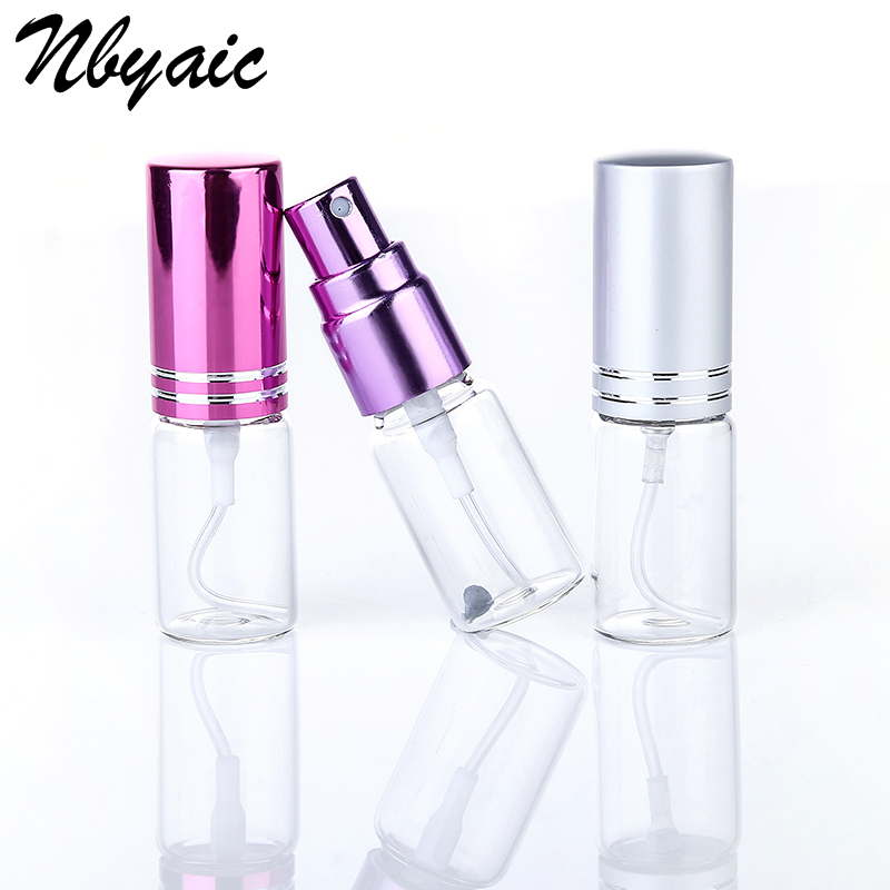 Nbyaic 5Pcs 5 ml Mini Portable Color Glass Bottle with Aluminum Sprayer Empty Cosmetics Travel Container 8 Colors Available double travel bottle container with comb