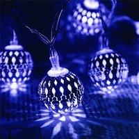LED Solar Powered Fairy String Light 20 Moroccan Lantern Metal Globe Outdoor Decoration Lighting For