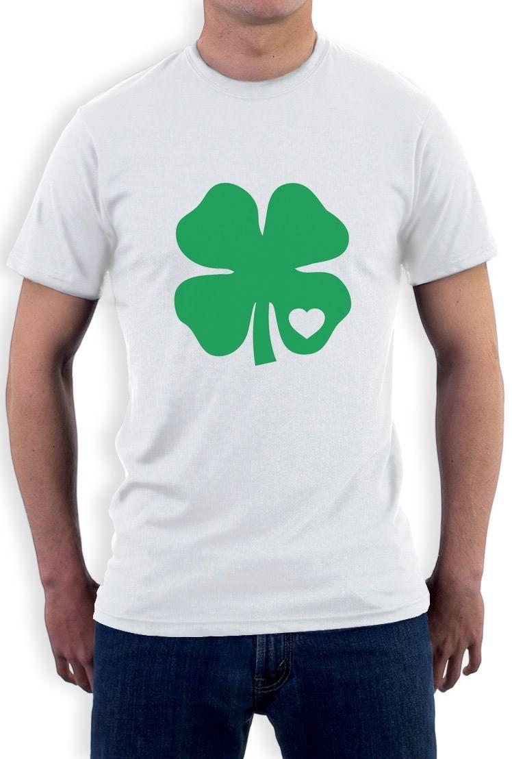 Дешевые Рубашки для мальчиков печати с коротким круглым вырезом мужские предложения зеленый clov сердце St. Патрик Day Tee