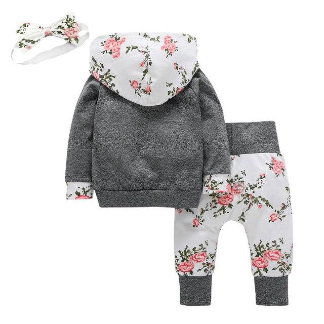 3 uds. De ropa para bebés y niñas de manga larga, Sudadera con capucha y pantalones con bolsillo de canguro y flores, conjunto de ropa infantil con diadema