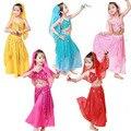 2017 5 Cores Novas Choffin Crianças Desempenho Conjunto Traje de Dança Do Ventre Indiano Bollywood Pano Crianças Dança Roupas Traje