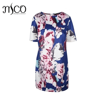 Vintage Summer Short Sleeves Floral Print Knee Length Women Shift Dress  Elegant Plus Size Oversize Office e7b649426d92