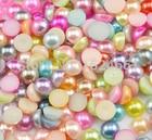 4mm 1700pcs Mixed Colour Half set Bead Flat Back Round options flower shape imitation Pearls Flatback beads