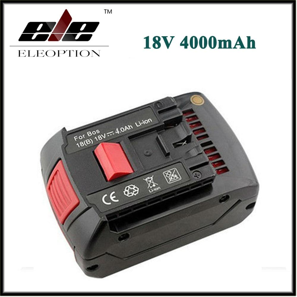 Eleoption 18 V 4.0Ah 4000 mAh Sostituzione batteria Ricaricabile Li-Ion Batteria per Bosch 17618 BAT609 BAT618 Con Luce LED