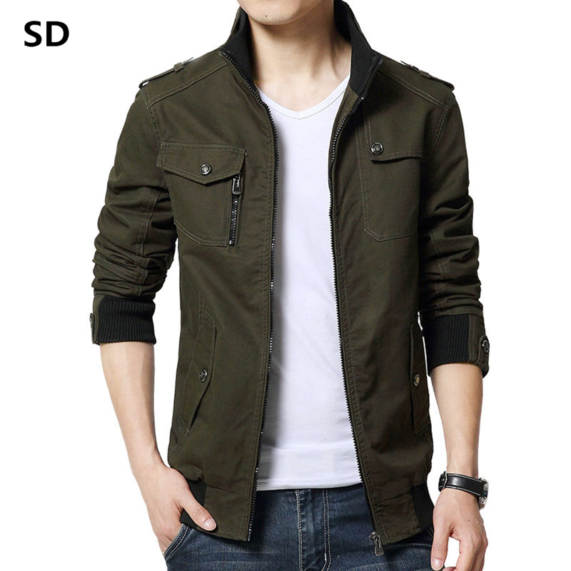 SD Brand Cargo Jacket Man Casual Jackets Army Green Slim Work Jackets Cotton Outerdoors Solid Color Overcoat Veste Homme 146