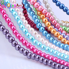 OlingArt 4MM 100pcs/lot Glass Beads Round Imitation Pearl Bracelet DIY Earrings Charms Necklace for Jewelry Making