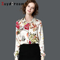 REAL SILK blouse Women long sleeve work Print Satin Silk blouse shirt Office lady STRETCH Plus size shirt 2017 NEW shirt