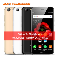 OUKITEL K4000 בתוספת 5.0 inch אנדרואיד 6.0 טלפון נייד 4 גרם MTK6737 Quad Core נייד 1.3 GHz 2 GB RAM 16 GB ROM 13.0MP + 5.0MP 4100 mAh
