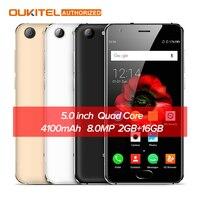 OUKITEL K4000 Artı 5.0 '' 4G Cep Telefonu Android 6.0 MTK6737 Quad Core 1.3 GHz 2 GB RAM 16 GB ROM 13MP + 5MP 4100 mAh Akıllı cep telefonu
