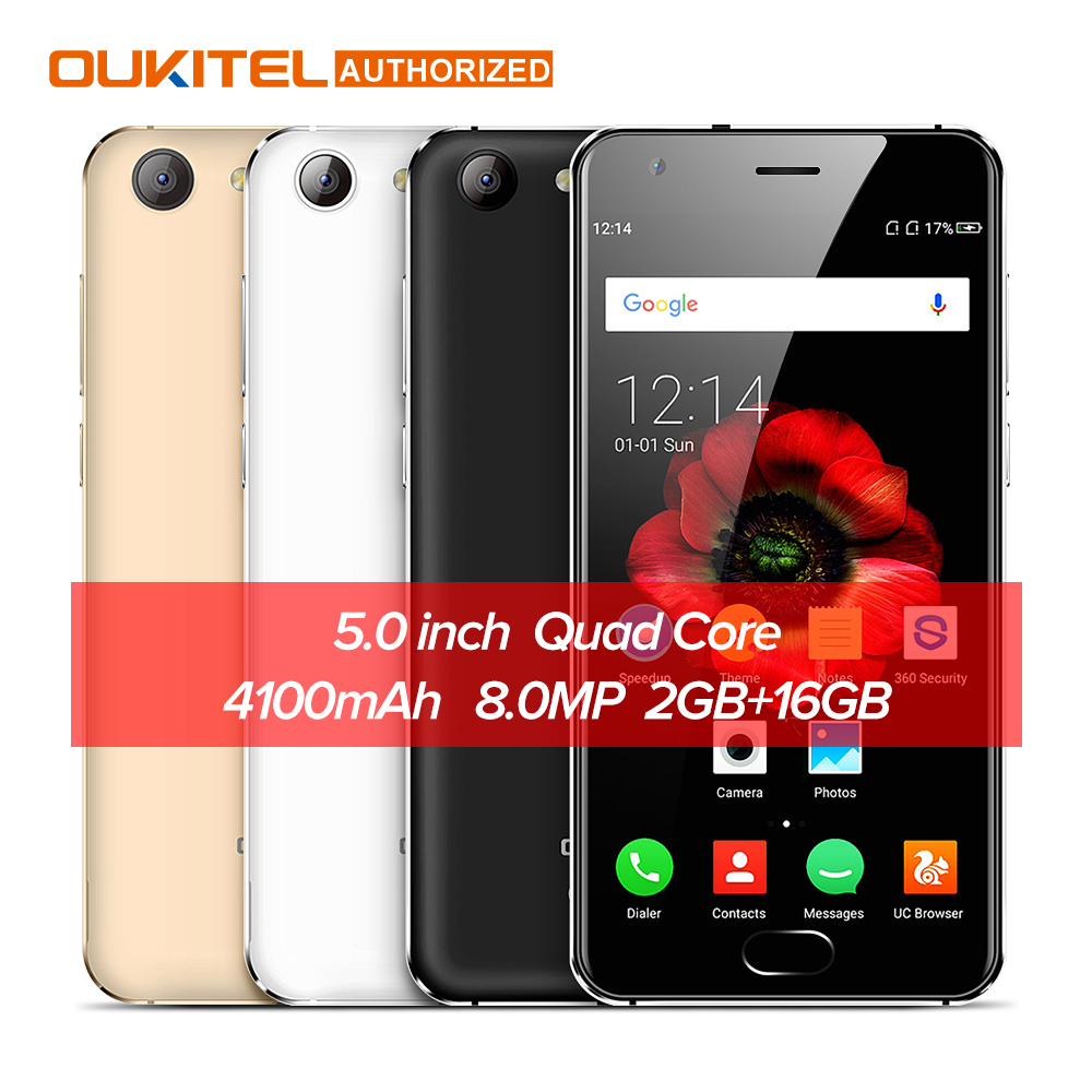 OUKITEL K4000 Plus 5.0 ''4g Mobile Téléphone Android 6.0 MTK6737 Quad Core 1.3 ghz 2 gb RAM 16 gb ROM 13MP + 5MP 4100 mah Intelligent Téléphone Portable