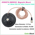 New Arrival KINNUOTA BMW303 Color Black MAGNETIC MOUNT SO239 with 5 Meter TEFLON RG-316 Coaxial Cable PL259