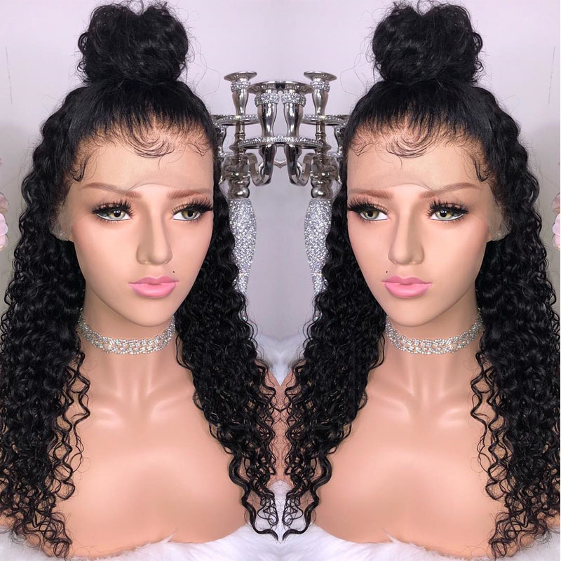 HD Transparent 360 Lace Frontal Wig Pre Plucked With Baby Hair Loose Curly Thin Lace Front Human Hair Wigs 150% Brazilian Remy