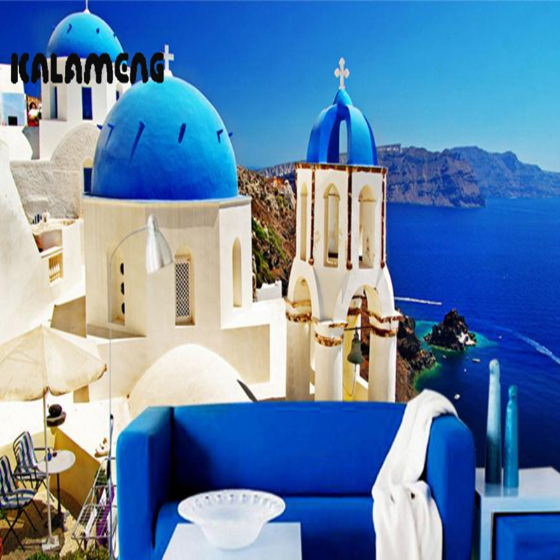 XCHELDA 3D Mural Wallpapers Custom Painting Santorini Design Background Bedroom Living Room Wall Murals Papel De Parede custom 3d wall murals wallpaper luxury silk diamond home decoration wall art mural painting living room bedroom papel de parede
