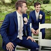 Bule mannen Pakken maatwerk Bruidegom Beste mannen suits Tuxedos notch revers Bruiloft Smokings Mannen Pakken (Jas + broek) G357