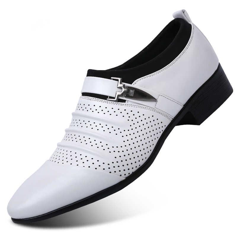 Rỗng ra Oxfords chính thức Giày rọ da thật nam Da Giày cưới Đen heren schoenen Giày Oxford nam Đầm 2019 cho nữ