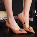 New Spring Fashion Heels Shoes Soft Square Buckle Suede Flock Pointed High Heeled Shoes Middle Heel Sexy Womens Pumps G3151