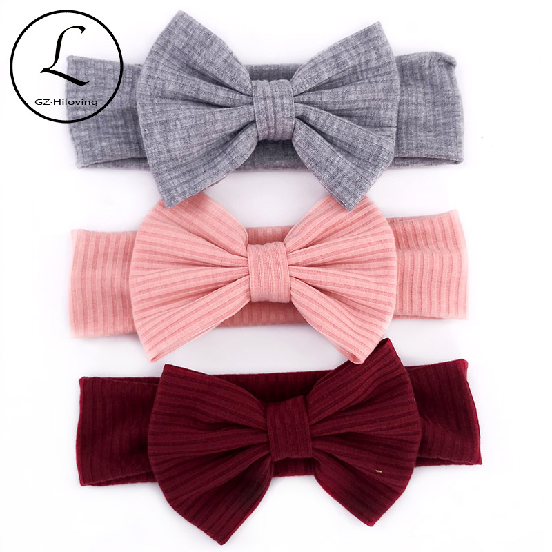 GZHILOVINGL Newborn Baby Girls Bow Knot Headbands 2019 Girls Childs Toddler Soft Cotton Ribbed Turban Head Wrap Birthday Gifts