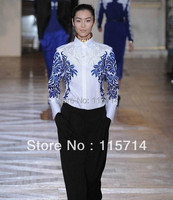 Fast Shipping New Runway Fashion Women Luxury Emroidery Organza Blouse Turndown Collar Full Sleeve Silk Tops/Shirt XXL Size