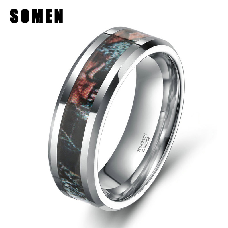 New Fashion Jewelry 6MM Women Tungsten Carbide Camo Wedding Rings Summer Leaves Camouflage Inlay Hunting Comfort Fit Band(China (Mainland))