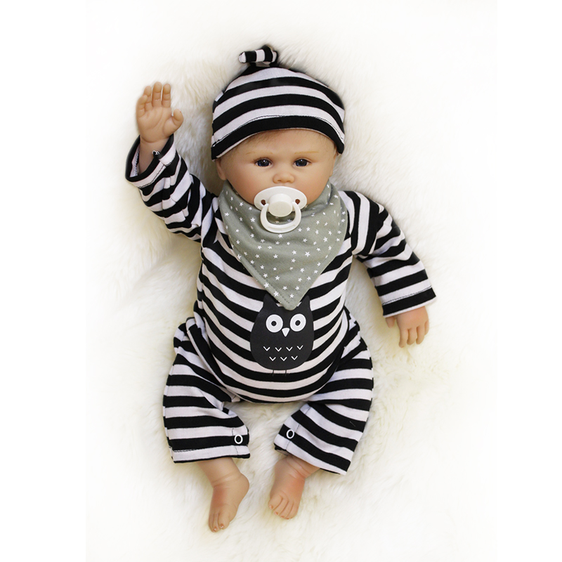 Nicery 20inch 50cm Bebe Doll Reborn Soft Silicone Boy Girl Toy Reborn Baby Doll Gift for Child Black and White Striped Jumpsuit 10 pcs high quality led screen mini tattoo power supply mini power supply tattoo power tattoo ink kit supplies