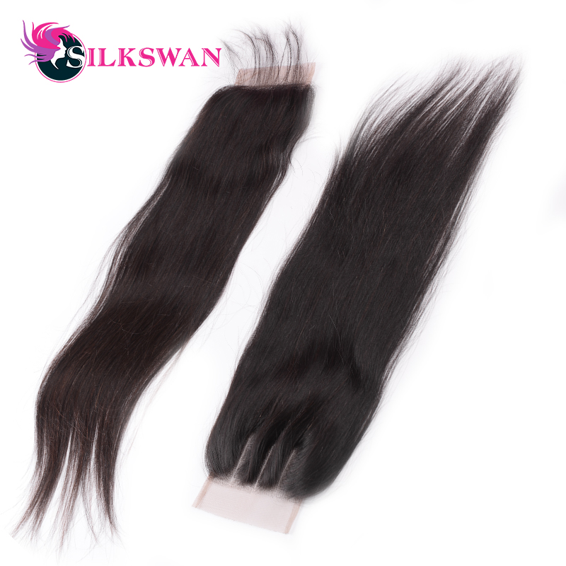 Image 5 - Silkswan Brazilian Straight Middle Ratio Remy HairNatural Color 10 20'' 28 Inch Lace Closure  Middle/Free Part  Free Shipping-in Closures from Hair Extensions & Wigs