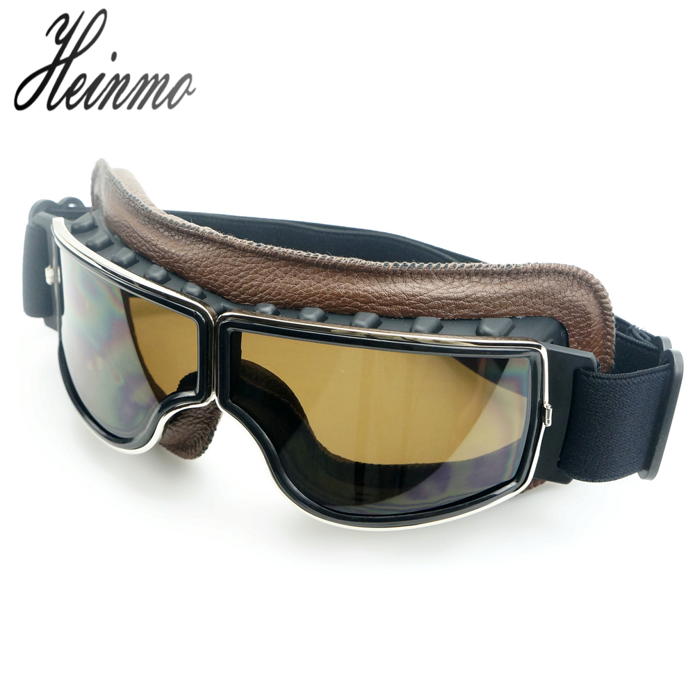 New Motorcycle Glasses Leather motocross pilot googles Aviator Cruiser Vintage Pilot motorcycle cycling eye wear goggles