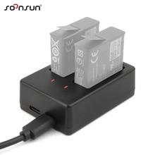SOONSUN USB Dual Slot AHDBT 501 Batterie Ladegerät Dock Ladestation mit Kabel für GoPro Hero 8 7 6 5 Schwarz gehen Pro Zubehör