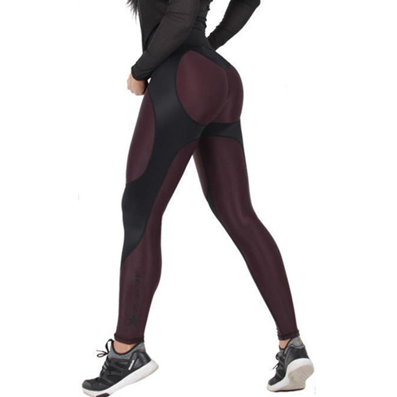 2017 New Patchwork Women Fitness   Leggings   High Waist Workout Sporting Women   Leggings   Push Up Slimming Pants Female Pencil Pants