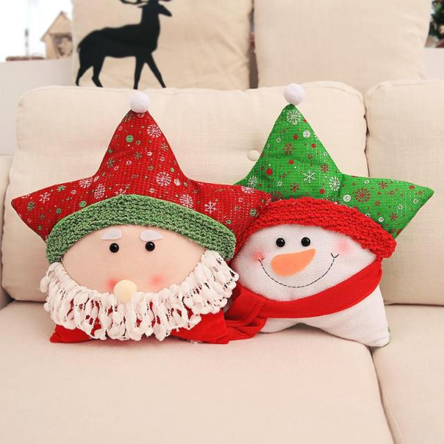 christmas decorative throw pillow covers tassel plush cushion for holiday lovely snowman santa bolster pillow