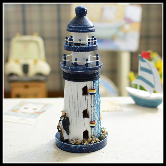 Mediterranean Style Wood Lighthouse Figurine nautical decor  Home Decoration Accessories Crafts Gift