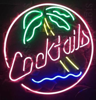 Custom COCKTAIL Tree Glass Neon Light Sign Beer Bar