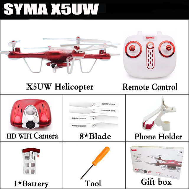 Newest SYMA X5UW 2.4G 4CH Aerial UAV RC Drones With Wifi FPV Real-time Camera 6-axis 2.4G RC Quadcopter Airplane