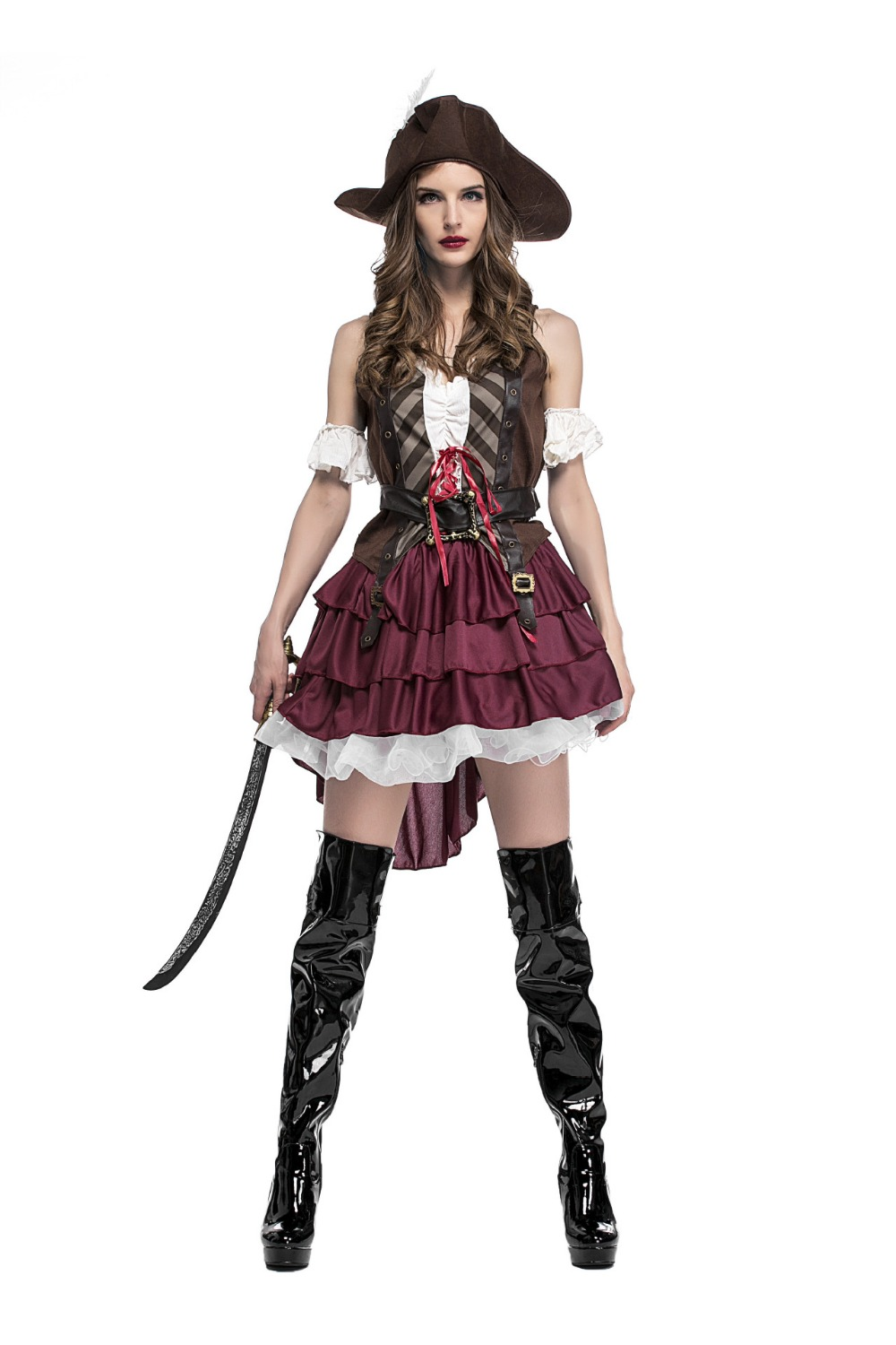 Sexy Women Halloween Cosplay Costume Pirates Fancy Dress Outfit Carribbean Party Cloth Free Size