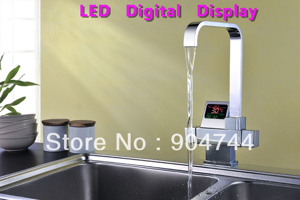 Self Design Patent Led Digital Display Chrome Finish Contemporary Style Thermostatic Kitchen