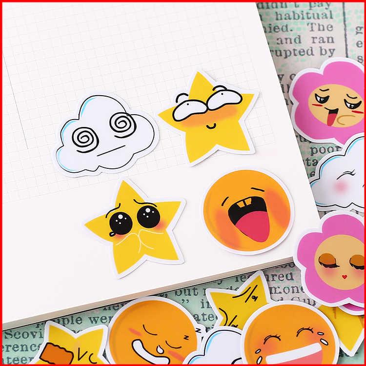 40 قطعة الكرتون الطقس شخصية القصاصات ملصقات سكرابوكينغ المواد شخصية ملصقا سعيد مخطط الديكور الحرفية