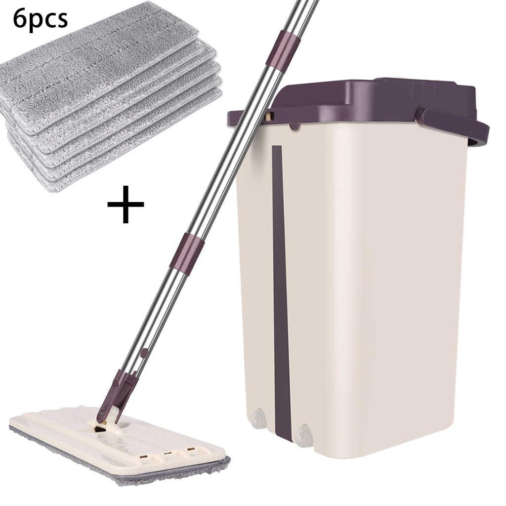 Casa Limpeza do Chão Mop Sistema de Balde Inoxidável Livre Torcendo Spray de Microfibra Mop Pads Wet Dry Uso em Laminado de Madeira Telha