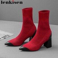 Разные цвета телячья кожа вязание с острым носком блесток шипованных Обувь на высоком каблуке в простом стиле Изящные женские стрейч ботин