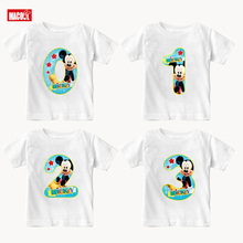 Boys and Girls Happy Birthday Number 1-9 Letter Print T Shirt Enfant Summer White T-shirt Kids Funny Present 3-12 Years