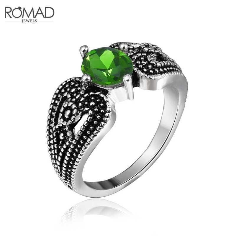 ROMAD Vintage เงินสีเขียวคริสตัลสร้อยคอสร้อยคอผู้หญิงยาวต่างหู 2019 Retro แหวนนิ้วมือชุด R50