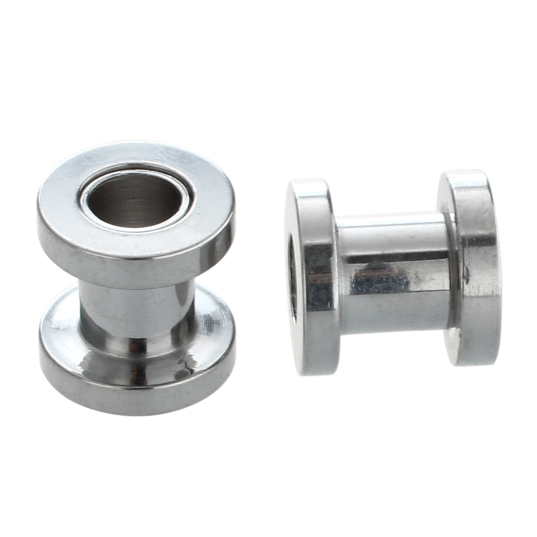 Disciplined Silver Steel Gauge Earring Punk Flesh Tunnel Ear Plugs Rimmed Flat Style Type:391 Agreeable Sweetness 6.5mm Rimmed Silver Tunnels Amount:pair