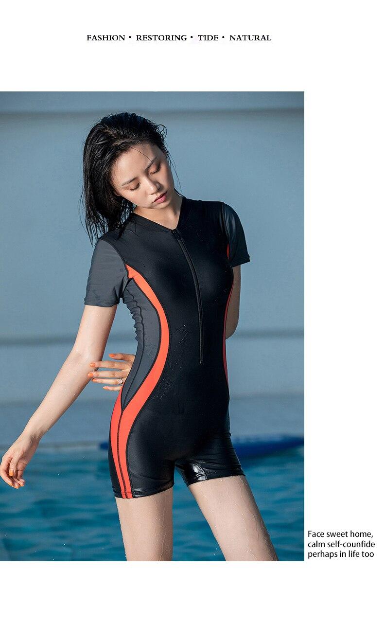 uma peça de surf ternos mangas curtas