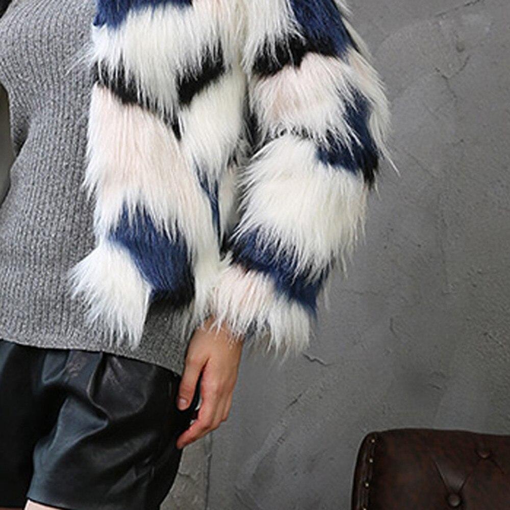 Couleur Épais Cardigan Col Rond Femmes Manteau Hiver Artificielle Court Sauvage De Gratuite Veste Européenne Blue Fourrure Chaud Livraison 0qU1I