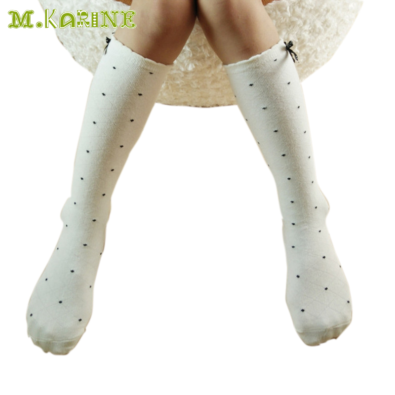 291b3e428 New Fashion Girls Stockings Cotton Baby Child Leg Warmers Bow Lace Knee  High Socks Kids Black White Dots Mesh Stocking For 2-8Y