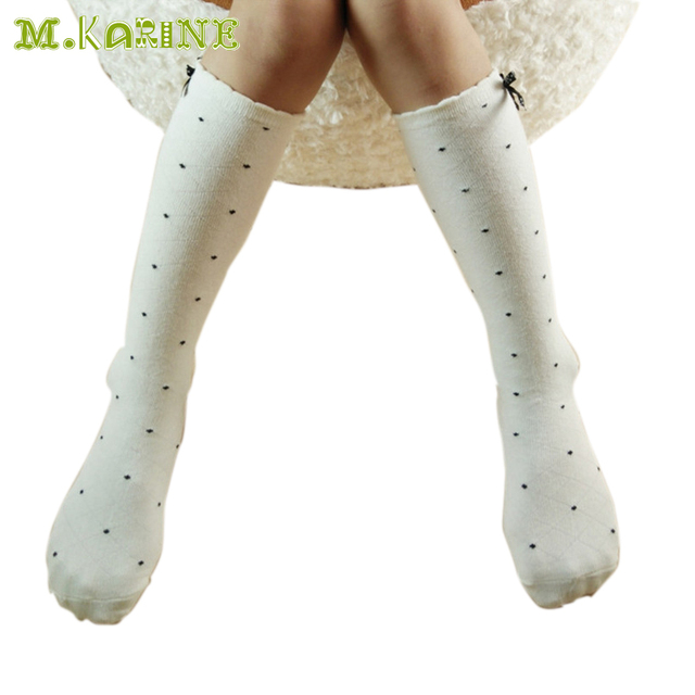 4ca462943cd1 New Fashion Girls Stockings Cotton Baby Child Leg Warmers Bow Lace Knee  High Socks Kids Black White Dots Mesh Stocking For 2-8Y