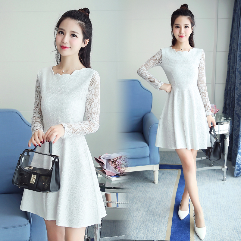 832302646fb Spring Autumn Lace Dress 2018 New Korean Fashion Mini Vestidos Women Long  Sleeve Solid Slim A-line Dress White Party Dresses