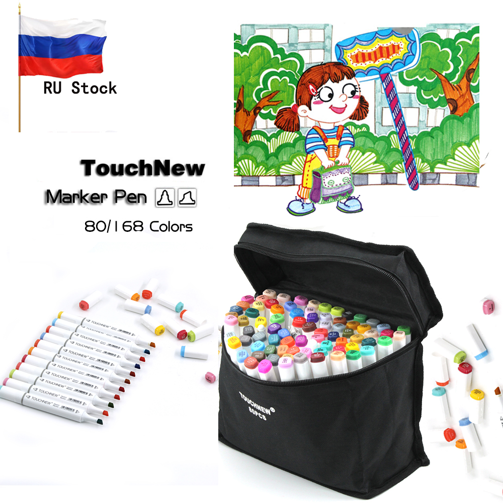 TOUCHNEW Art Markers Pen 80/168 Color Animation Double-head Alcohol Based Touch Marker Pen For Kids And Adults Gift Ship from RU 168 colors set touchnew art markers marker alcohol based double end permanent twin marker pen with pen case