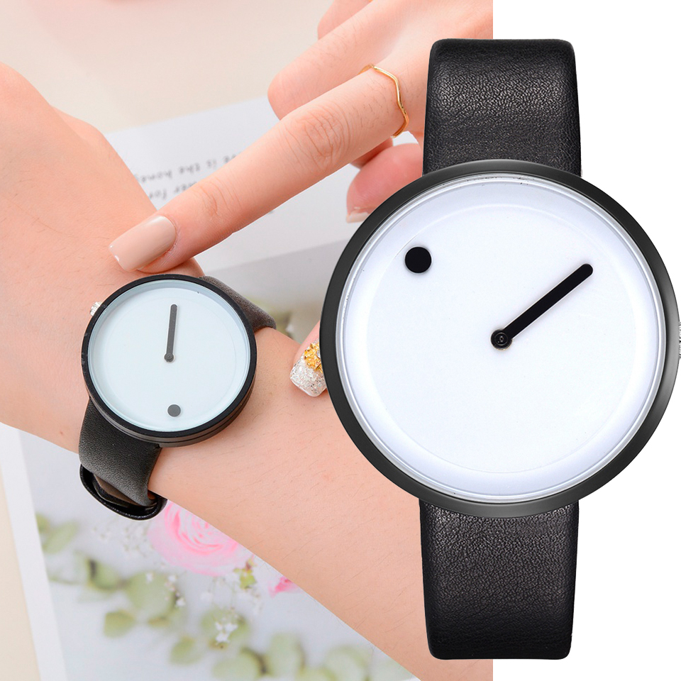 Minimalist Style Leather Wristwatches Women Men Creative Black White Design Dot & Line Simple Face Quartz Watches  Clock