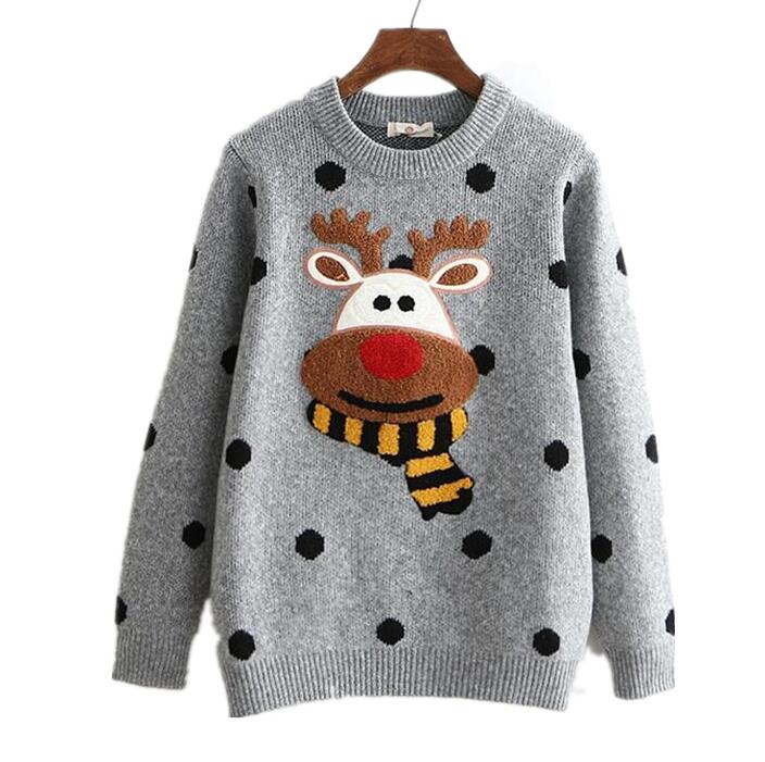 Korea 2018 Spring Women Warm Soft Loose Vintage Jersey Ugly Elk Pot Knit Fitness Deer Pullovers